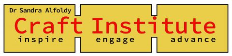 "Yellow logo with red text that reads ""Dr. Sandra Alfoldy Craft Institute - inspire, engage, advance"""