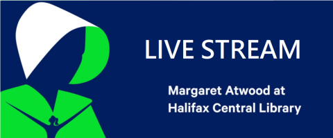 Silhouette of a woman in a bonette on a blue bakcground. Text on image reads: Live stream - Margaret Atwood at Halifax Central Library
