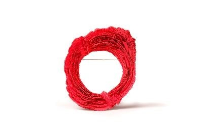 A circle of red yarn.