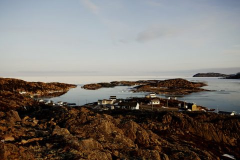 small homes along the shore on Fogo Island